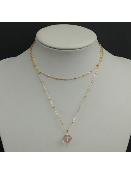 trendy Simple Women's Faux Crystal Pendant Sweater Chain Necklace - PINK