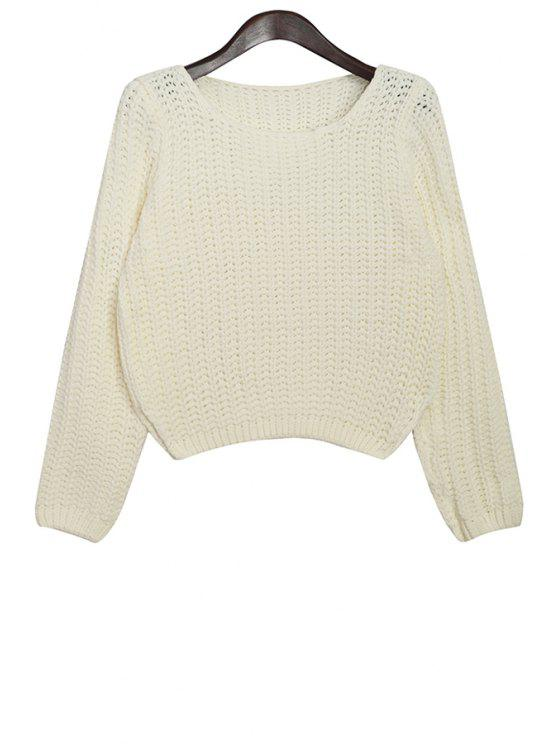affordable Scoop Neck Solid Color Sweater - OFF-WHITE ONE SIZE(FIT SIZE XS TO M)