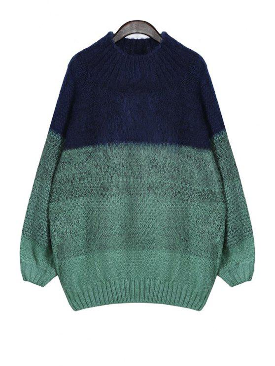 new Color Block Round Neck Sweater - GREEN ONE SIZE(FIT SIZE XS TO M)