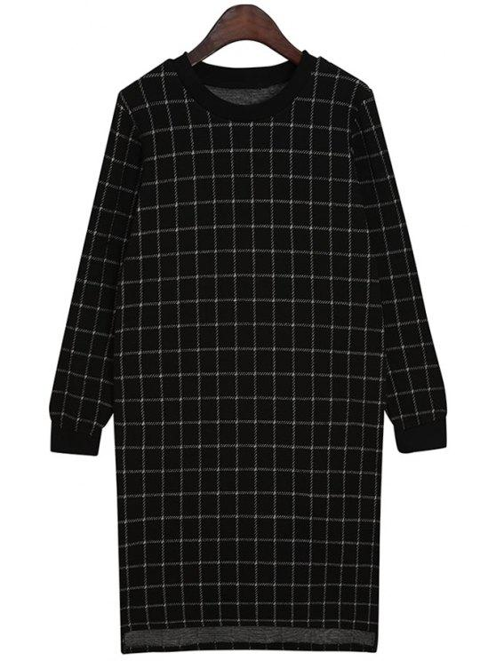 womens Checked Pattern Long Sleeves Dress - BLACK ONE SIZE(FIT SIZE XS TO M)