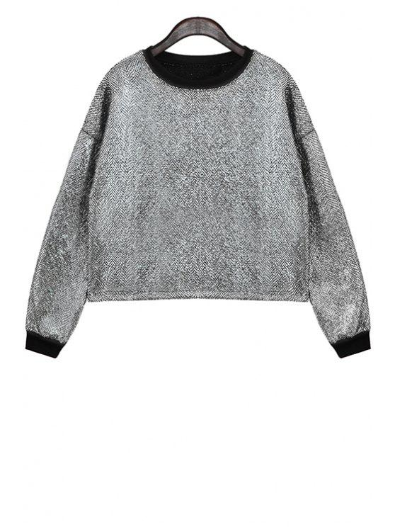 online Metal Color Long Sleeve Sweatshirt - SILVER ONE SIZE(FIT SIZE XS TO M)