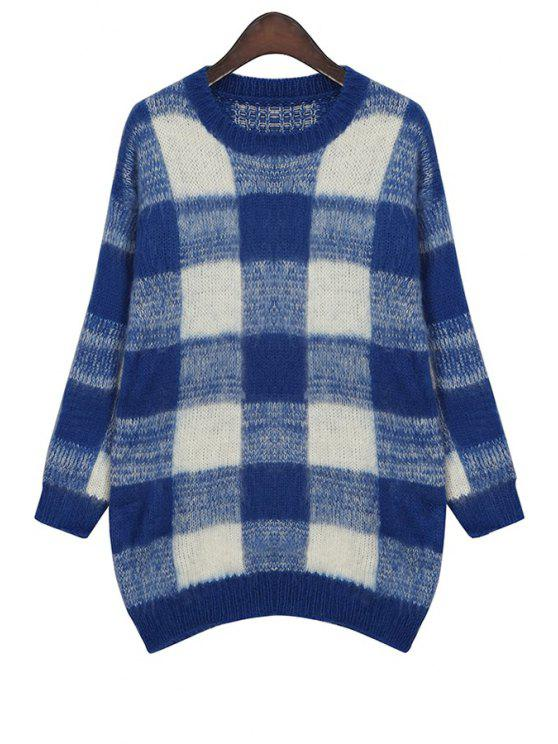 online Jewel Neck Checked Pattern Sweater - BLUE ONE SIZE(FIT SIZE XS TO M)