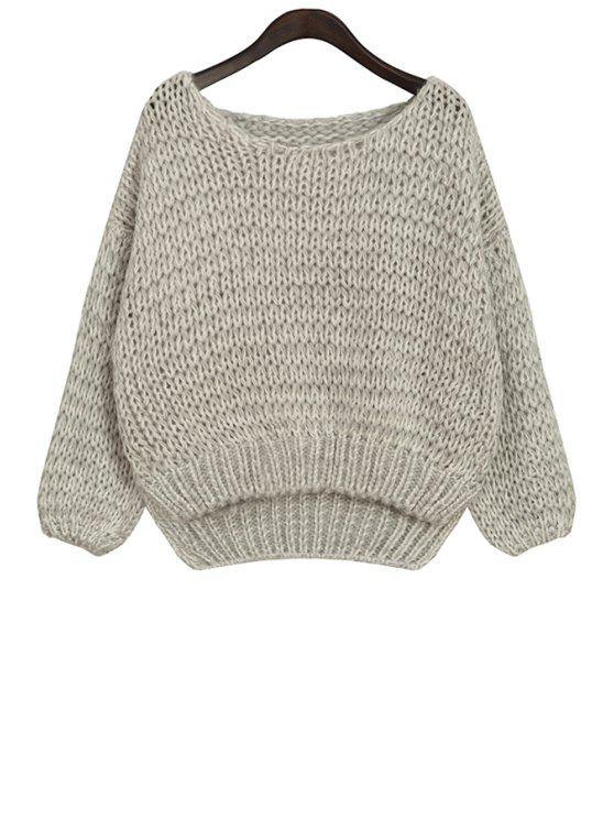 trendy Scoop Neck High-Low Hem Sweater - GRAY ONE SIZE(FIT SIZE XS TO M)