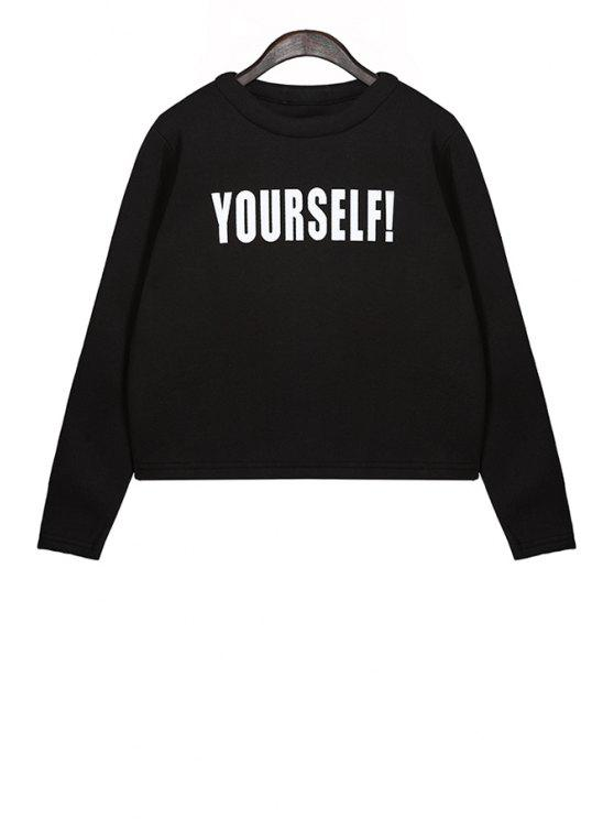 outfits Letter Pattern Long Sleeves Sweatshirt - BLACK ONE SIZE(FIT SIZE XS TO M)