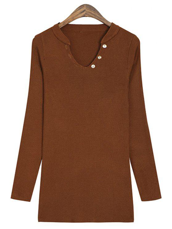 fashion V-Neck Solid Color Knitwear - CAMEL ONE SIZE(FIT SIZE XS TO M)