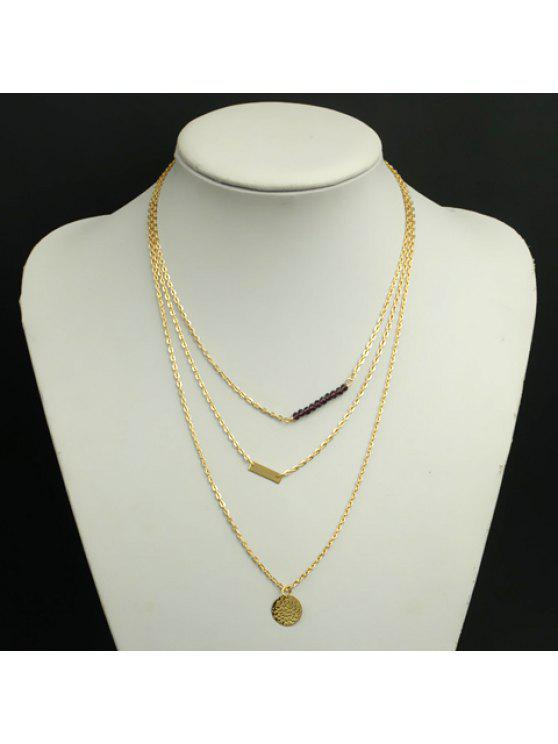 fashion Simple Design Faux Crystal Beads Decorated Multi-Layer Necklace For Women - GOLDEN
