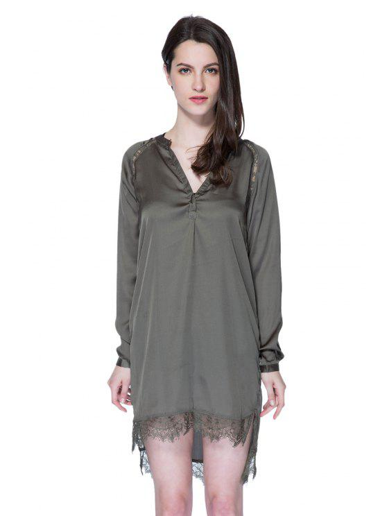 best Solid Color Lace Splicing Dress - ARMY GREEN S