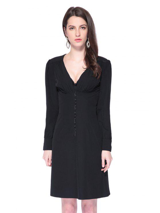 outfits Black Plunging Neck Breasted Dress - BLACK XS