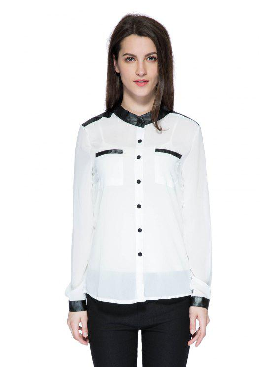 outfits PU Leather Splicing Long Sleeve Shirt - WHITE S