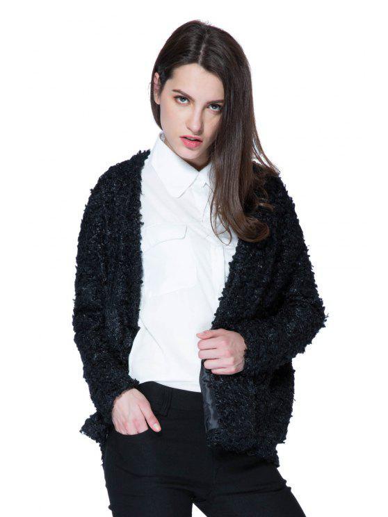 fancy Lamb Wool Solid Color Long Sleeve Coat - BLACK XL