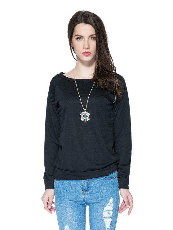 fashion Solid Color Long Sleeve Zipper Sweatshirt - BLACK M