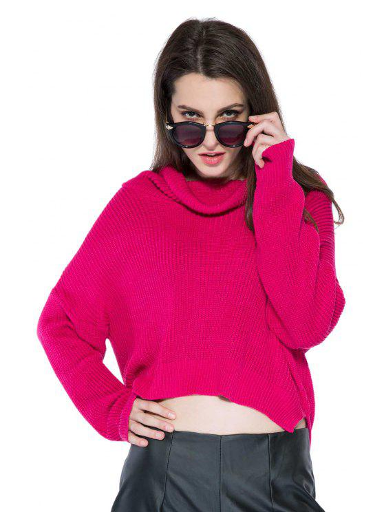 womens Solid Color High-Low Hem Sweater - WINE RED L