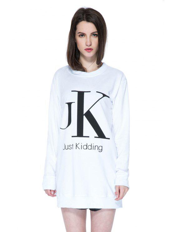 latest Long Sleeves Letter Print Sweatshirt - WHITE L