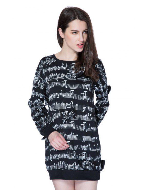 online Musical Staff Print Bowknot Sweatshirt - BLACK XS