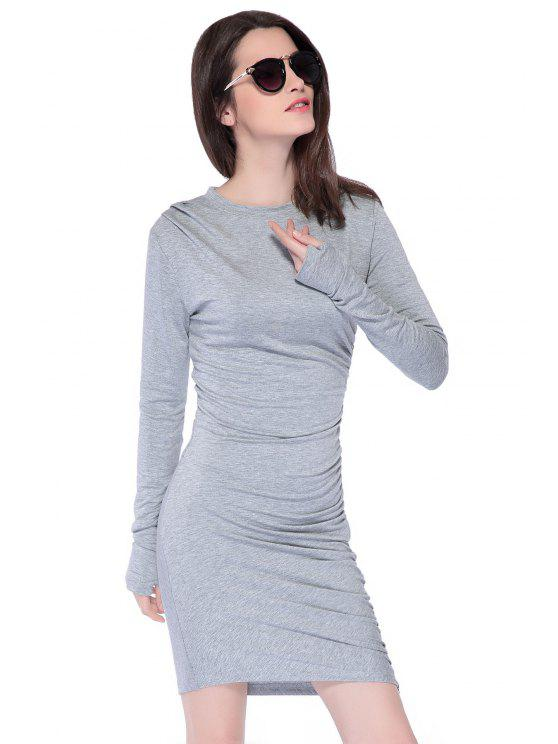 latest Solid Color Zipper Ruched Dress - GRAY XS