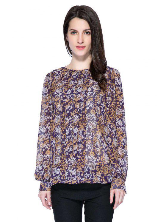 hot Retro Floral Long Sleeve Blouse - COLORMIX S