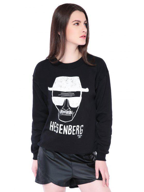 Portrait Imprimer longue Sleeve Sweatshirt - Noir L