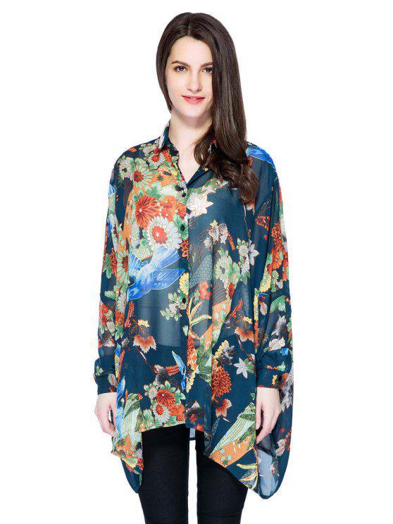 buy Floral Print Irregular Hem Shirt - COLORMIX S