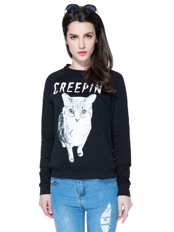 trendy Kitten and Letter Print Sweatshirt - BLACK XS