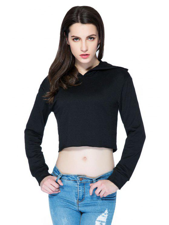 affordable Hooded Solid Color Crop Top - BLACK XS