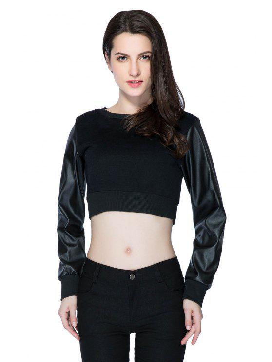 fashion PU Leather Splicing Crop Top - BLACK XS