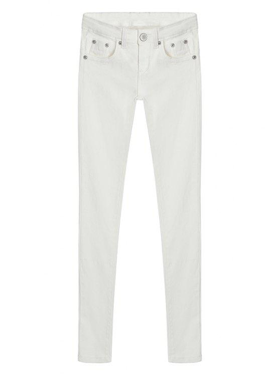 sale Skinny Solid Color Low Waisted Pants - WHITE S