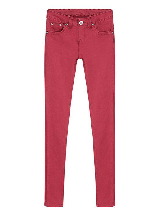 best Skinny Solid Color Low Waisted Pants - RED M