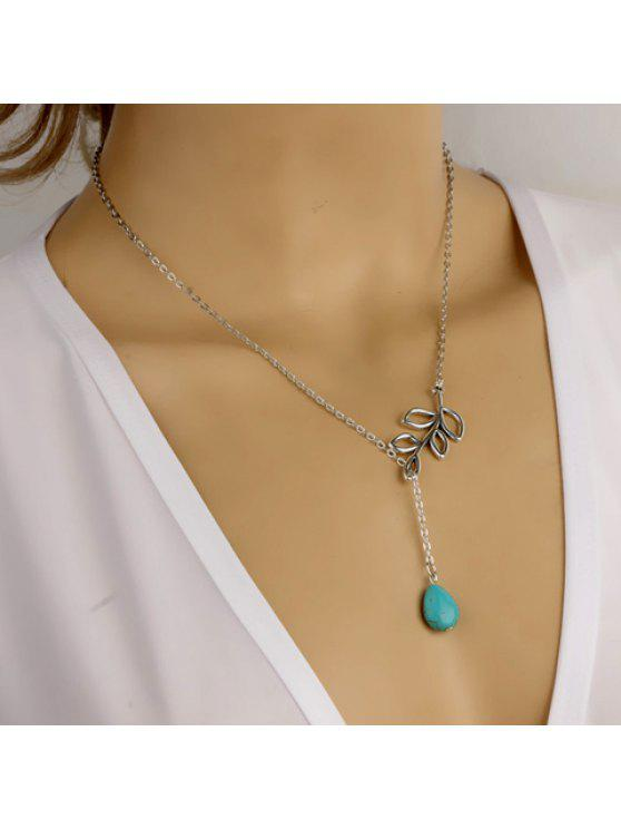 women Simple Design Waterdrop-Shaped Turquoise Embellished Openwork Leaf Pendant Necklace For Women - SILVER