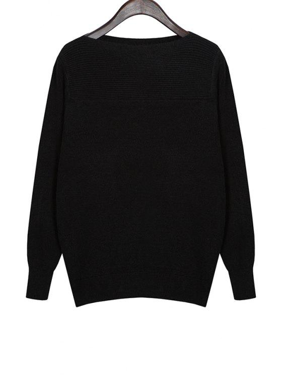 lady Boat Neck Solid Color Knitwear - BLACK ONE SIZE(FIT SIZE XS TO M)