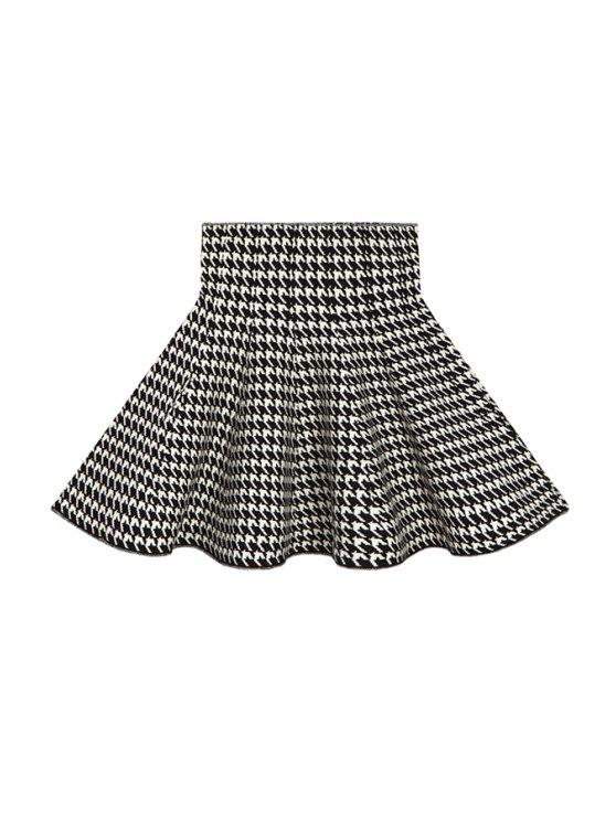 chic Flouncing Houndstooth Knit Skirt - WHITE AND BLACK ONE SIZE(FIT SIZE XS TO M)