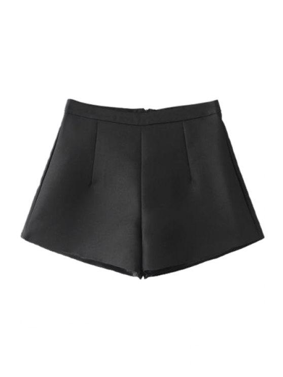 outfit Solid Color Wide-Leg Shorts - BLACK S