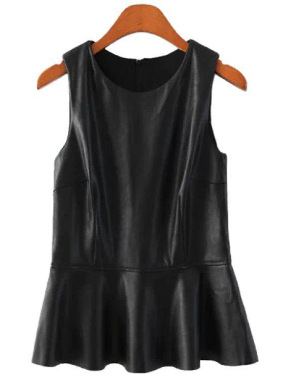 lady PU Leather Ruffles Tank Top - BLACK S