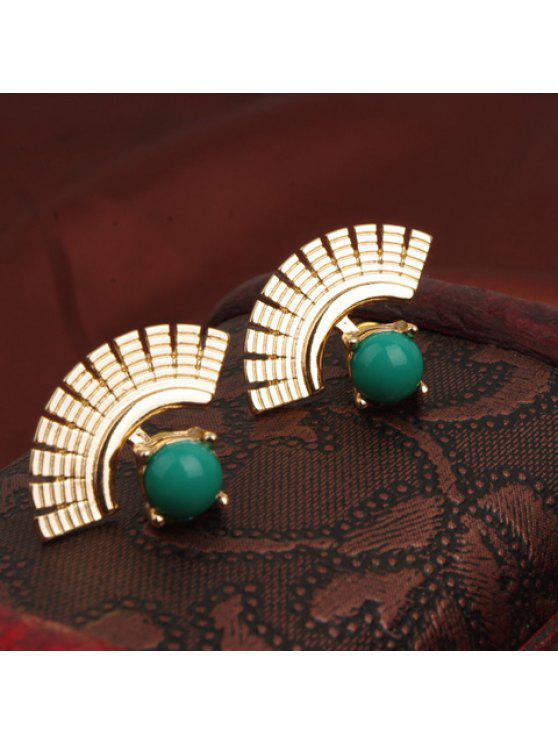 chic Pair of Retro Style Faux Gem Embellished Fan-Shaped Earrings For Women - GREEN
