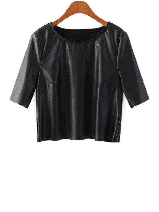 sale Half Sleeve Black PU Leather T-Shirt - BLACK S