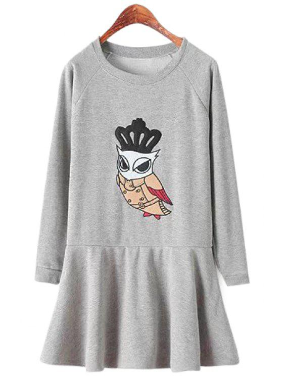 chic Owl Pattern Long Sleeve Dress - LIGHT GRAY ONE SIZE(FIT SIZE XS TO M)
