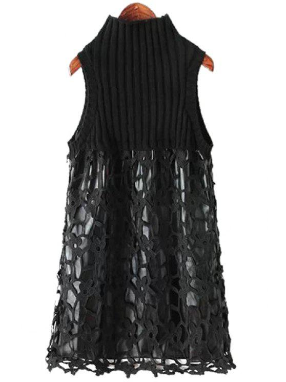 ladies Crochet Flower Splicing Sleeveless Dress - BLACK ONE SIZE(FIT SIZE XS TO M)