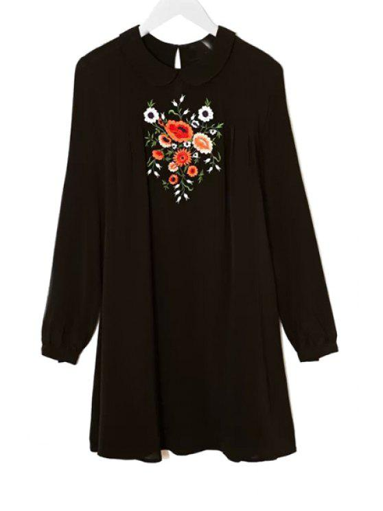 fancy Peter Pan Collar Floral Embroidery Dress - BLACK S