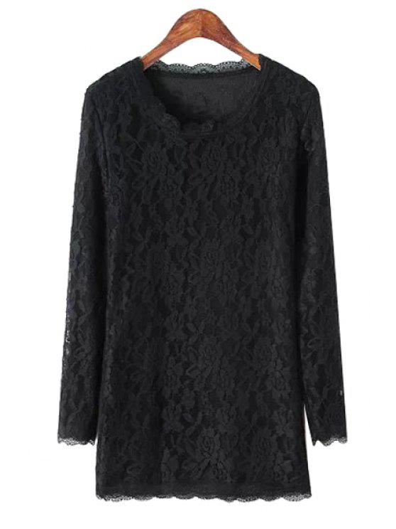 womens Ladylike Scoop Neck Long Sleeve Solid Color Women's Lace Dress - BLACK ONE SIZE(FIT SIZE XS TO M)