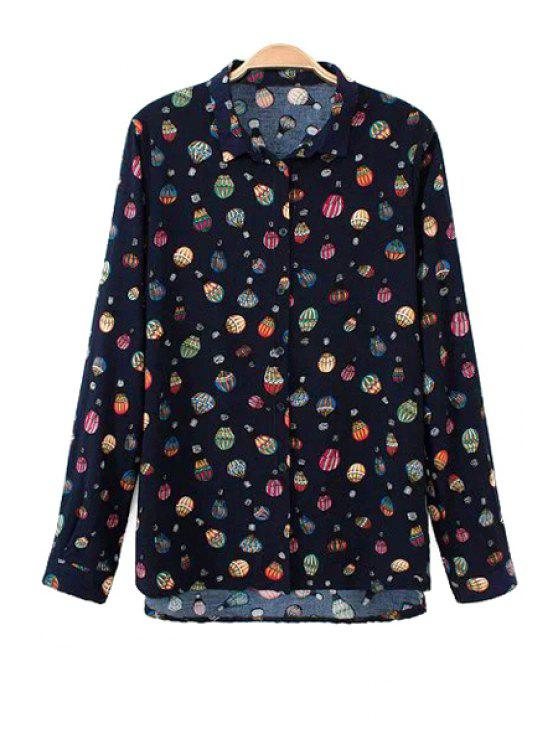 best Long Sleeve Balloon Print Shirt - BLACK S