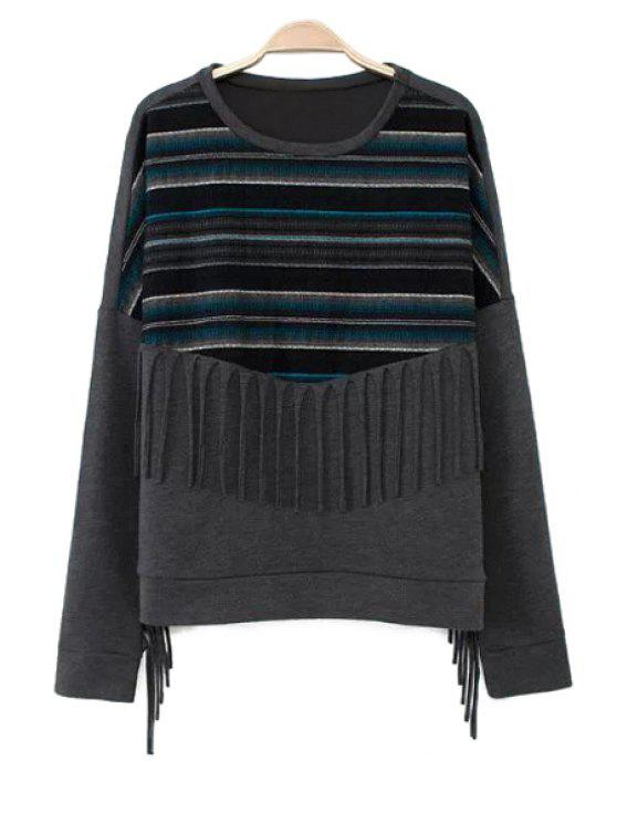 fashion Striped Splicing Fringe Sweatshirt - GRAY S