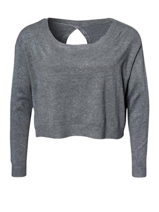 lady Solid Color Blackless Knitwear - GRAY XS