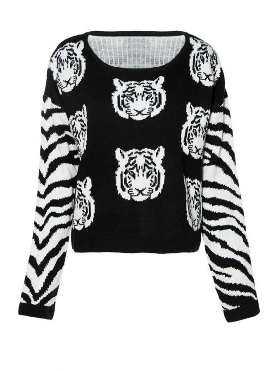 best Tiger Pattern Long Sleeves Sweater - BLACK XS