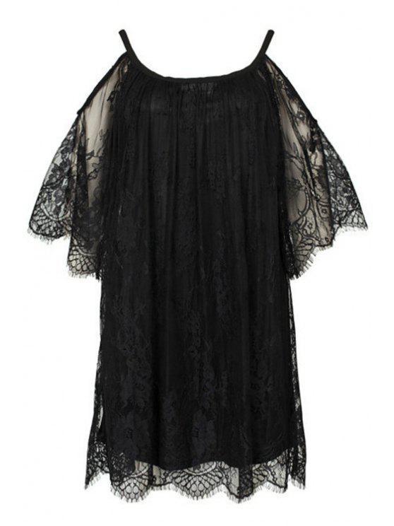 fancy Off-The-Shoulder Black Lace Dress - BLACK S