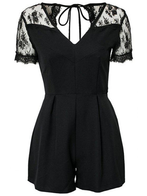 hot Lace Splicing Short Sleeve Jumpsuit - BLACK XS