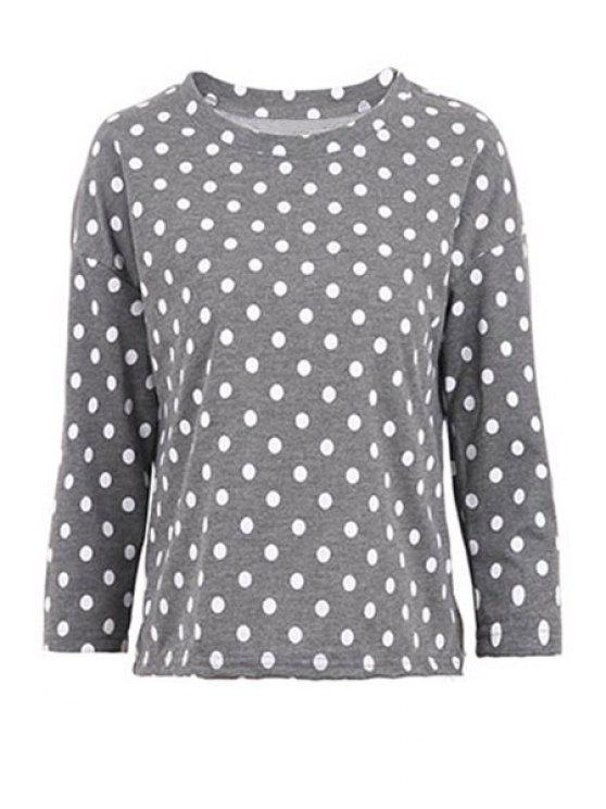 unique Polka Dot Long Sleeve T-Shirt - GRAY L