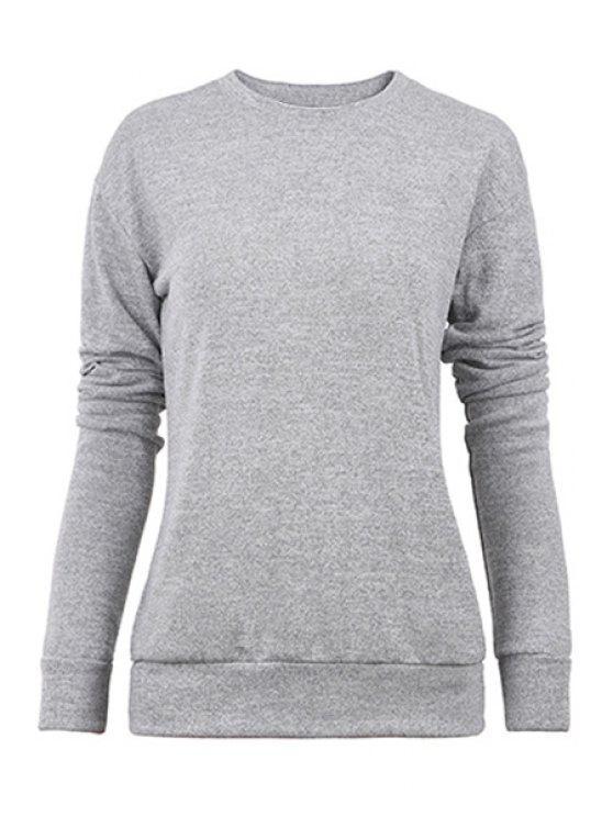 fancy Gray Long Sleeves Knitwear - GRAY S
