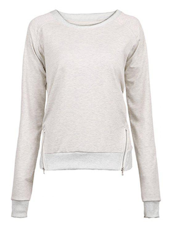 fancy Gray Zipper Jewel Neck Sweatshirt - GRAY M
