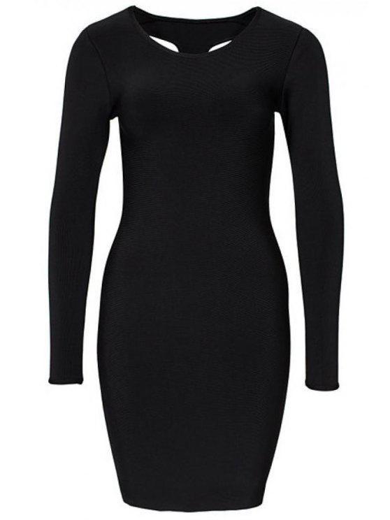 chic Black Backless Bodycon Dress - BLACK S