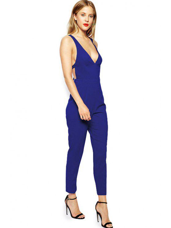 outfits Plunging Neck Blue Backless Jumpsuit - BLUE XS
