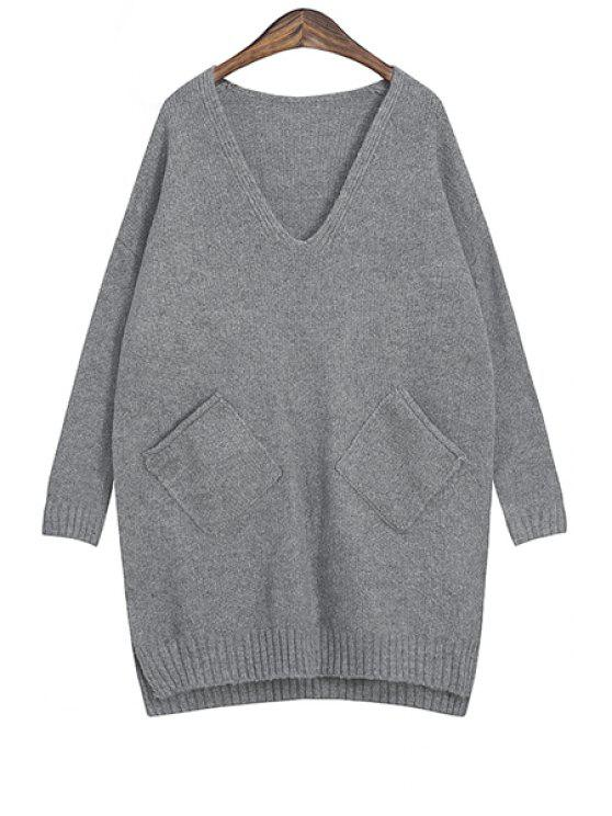 womens Solid Color Plunging Neck Sweater - GRAY ONE SIZE(FIT SIZE XS TO M)